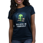 Believe in Yourself! Women's t-shirt model TeeTurtle navy t-shirt featuring an alien sitting on a bench surrounded by stars and the moon