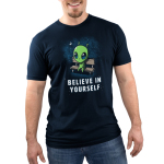 Believe in Yourself! Men's t-shirt model TeeTurtle navy t-shirt featuring an alien sitting on a bench surrounded by stars and the moon
