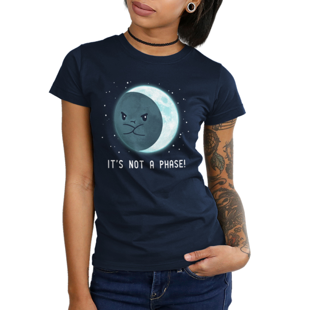 It's Not a Phase Junior's t-shirt model TeeTurtle navy t-shirt featuring an upset moon with him arms crossed with stars around him