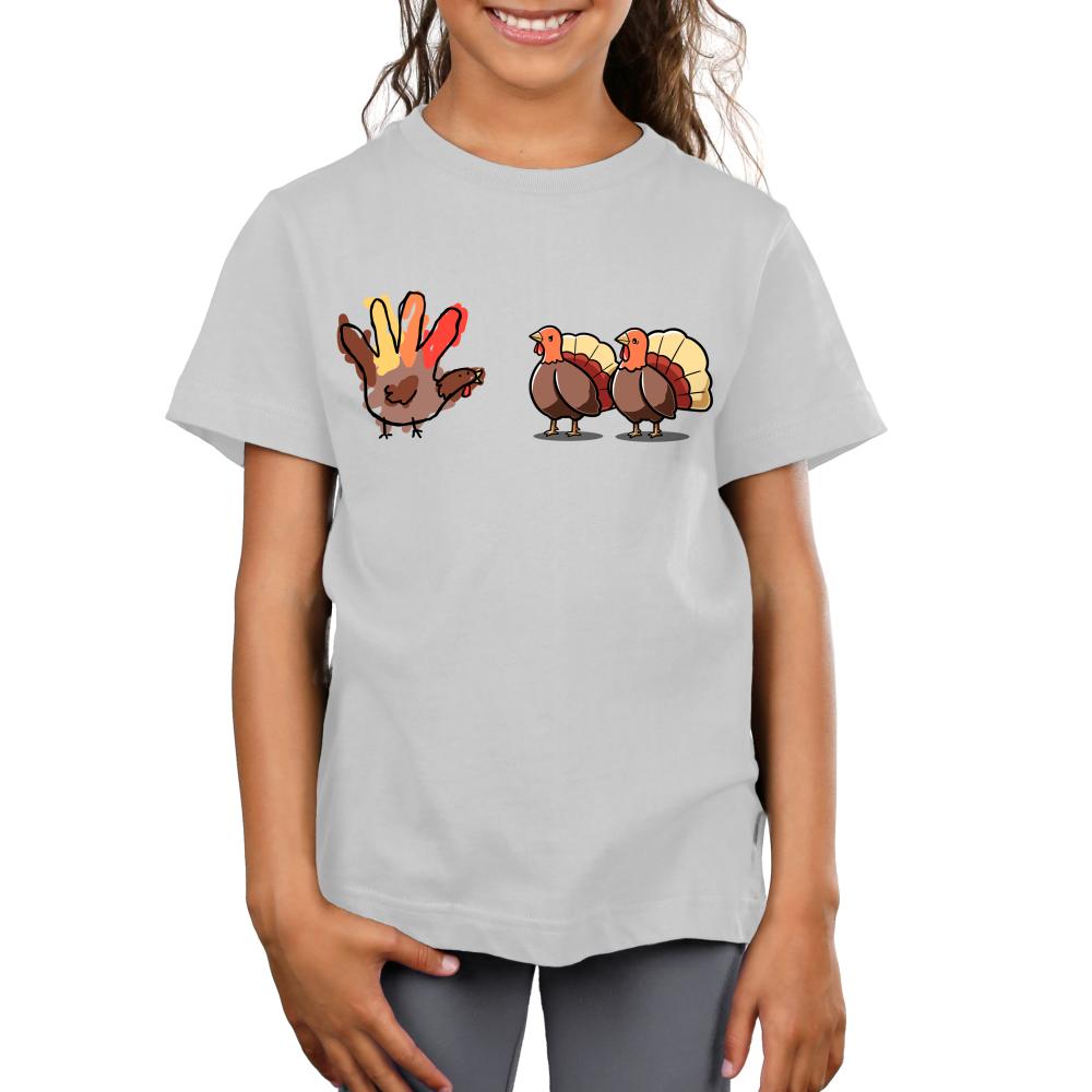 Hello Fellow Turkeys Kid's t-shirt model TeeTurtle silver t-shirt featuring two turkeys with one hand painted turkey