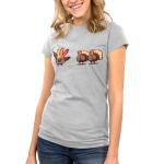 Hello Fellow Turkeys Junior's t-shirt model TeeTurtle silver t-shirt featuring two turkeys with one hand painted turkey