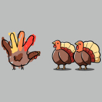 Hello Fellow Turkeys t-shirt TeeTurtle silver t-shirt featuring two turkeys with one hand painted turkey