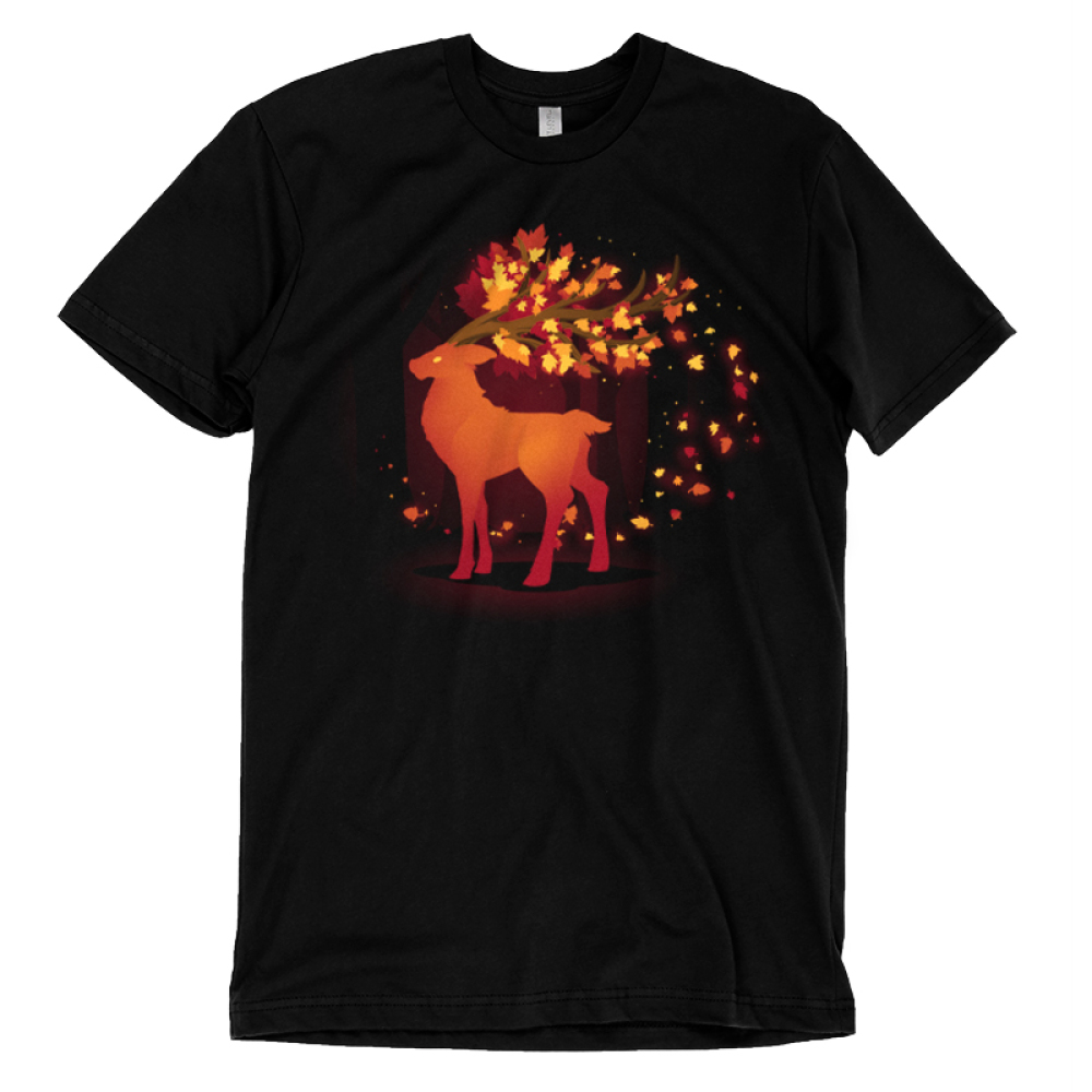 Spirit of Autumn t-shirt TeeTurtle black t-shirt featuring a buck with leaves flowing out of his antlers