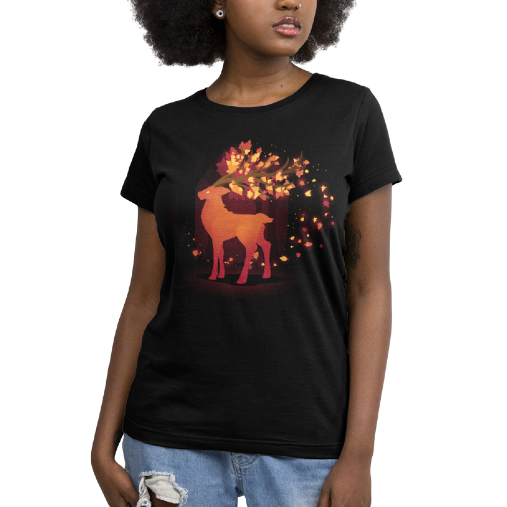 Spirit of Autumn Women's t-shirt model TeeTurtle black t-shirt featuring a buck with leaves flowing out of his antlers