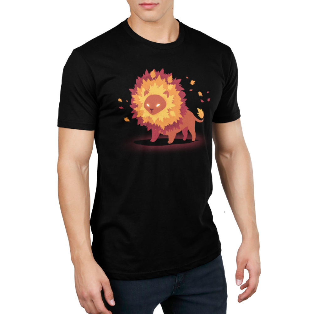 Autumn Pride Men's t-shirt model TeeTurtle black t-shirt featuring a lion with glowing eyes and a mane full of fall colored leaves