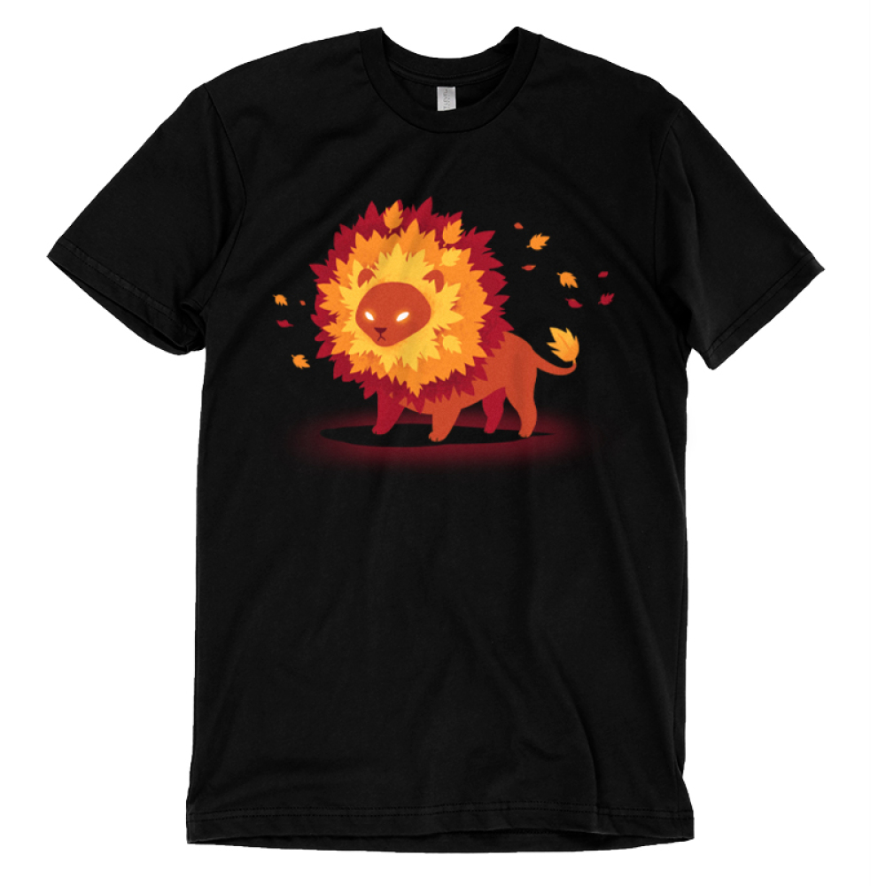 Autumn Pride t-shirt TeeTurtle black t-shirt featuring a lion with glowing eyes and a mane full of fall colored leaves