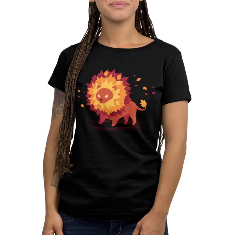 Autumn Pride Junior's t-shirt model TeeTurtle black t-shirt featuring a lion with glowing eyes and a mane full of fall colored leaves
