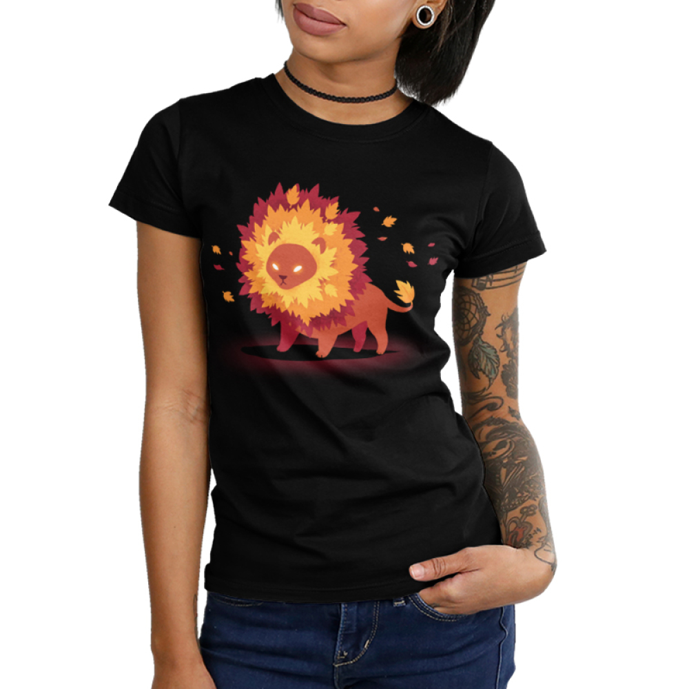 Autumn Pride Women's t-shirt model TeeTurtle black t-shirt featuring a lion with glowing eyes and a mane full of fall colored leaves
