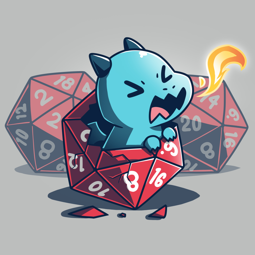 Born to Game t-shirt TeeTurtle silver t-shirt featuring a baby dragon hatching from a gaming dice with two dice behind him