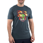 Meteor Shower Men's t-shirt model TeeTurtle indigo t-shirt featuring a dinosaur in a cape with a board game shooting flaming game pieces