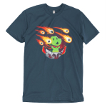 Meteor Shower t-shirt TeeTurtle indigo t-shirt featuring a dinosaur in a cape with a board game shooting flaming game pieces