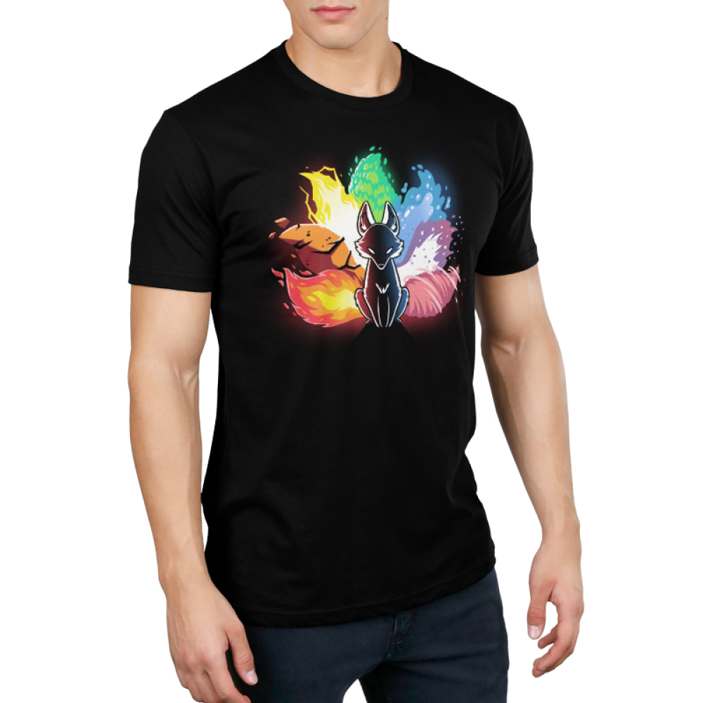 Elemental Kitsune Men's t-shirt model TeeTurtle black t-shirt featuring a kitsune with the different elements represented in its tail