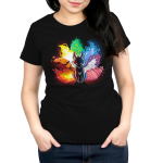 Elemental Kitsune Women's t-shirt model TeeTurtle black t-shirt featuring a kitsune with the different elements represented in its tail