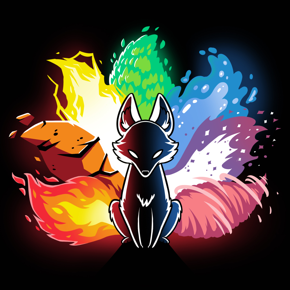 Elemental Kitsune t-shirt TeeTurtle black t-shirt featuring a kitsune with the different elements represented in its tail