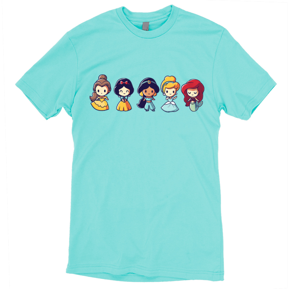 Lil Princesses t-shirt officially licensed Disney Caribbean blue t-shirt featuring belle, snow white, jasmine, cinderella, and ariel