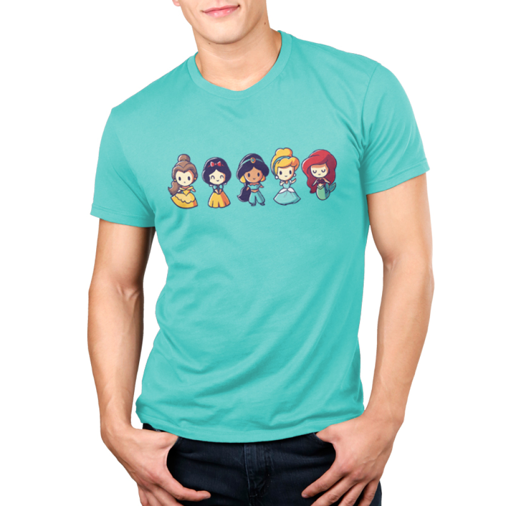 Lil Princesses Men's t-shirt model officially licensed Disney Caribbean blue t-shirt featuring belle, snow white, jasmine, cinderella, and ariel