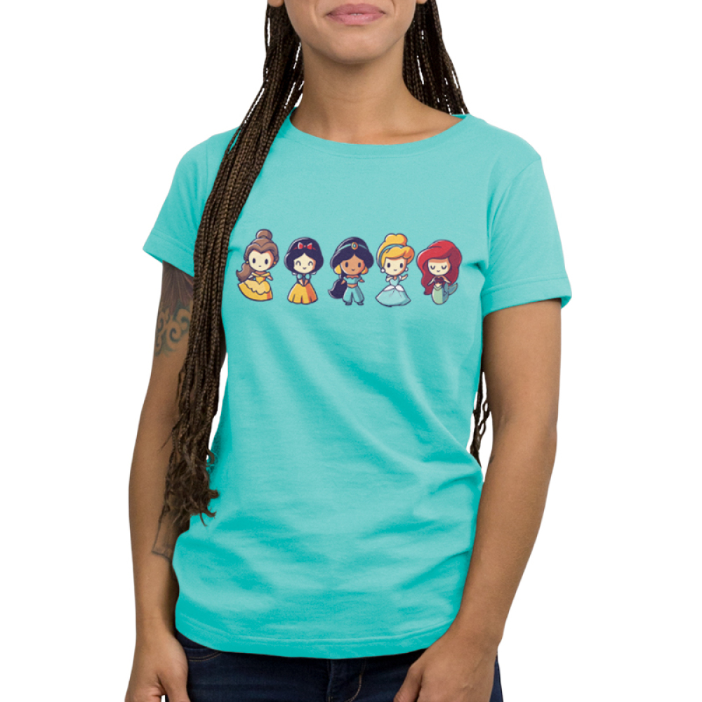 Lil Princesses Women's t-shirt model officially licensed Disney Caribbean blue t-shirt featuring belle, snow white, jasmine, cinderella, and ariel