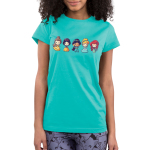 Lil Princesses Junior's t-shirt model officially licensed Disney Caribbean blue t-shirt featuring belle, snow white, jasmine, cinderella, and ariel