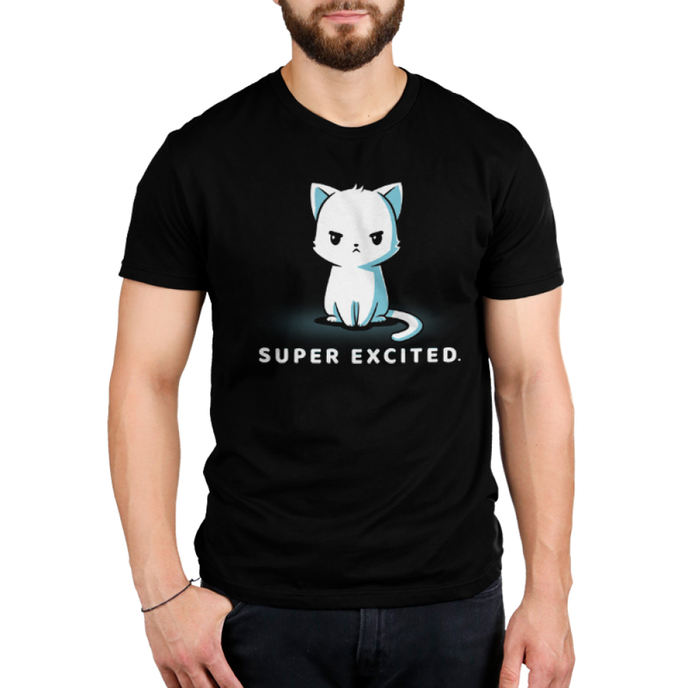 Super excited Men's t-shirt model TeeTurtle black t-shirt featuring an angry looking white cat