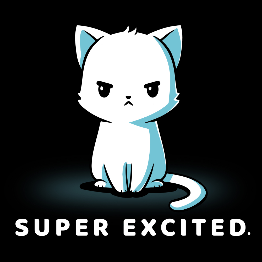 Super excited t-shirt TeeTurtle black t-shirt featuring an angry looking white cat