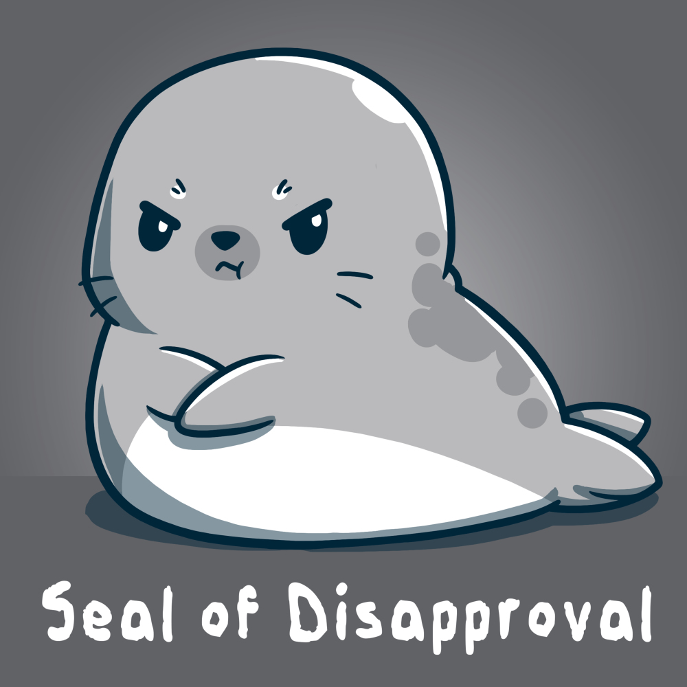 Seal of disapproval t-shirt TeeTurtle t-shirt featuring an upset looking seal crossing his fins