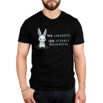 90% sarcastic Men's t-shirt model TeeTurtle black t-shirt featuring an angry looking bunny with his arms crossed