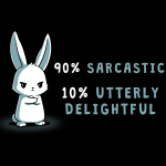 90% sarcastic t-shirt TeeTurtle black t-shirt featuring an angry looking bunny with his arms crossed