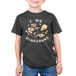 I Dig Dinosaurs Kids's t-shirt model TeeTurtle charcoal t-shirt featuring dinosaurs bones and excavation tools