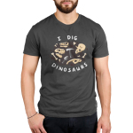 I Dig Dinosaurs Men's t-shirt model TeeTurtle charcoal t-shirt featuring dinosaurs bones and excavation tools