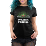 Jurassic Parking Women's t-shirt model TeeTurtle black t-shirt featuring a dinosaur in a car in the jungle parked between two cars