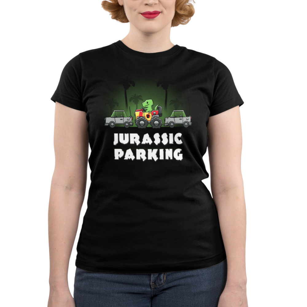 Jurassic Parking Junior's t-shirt model TeeTurtle black t-shirt featuring a dinosaur in a car in the jungle parked between two cars