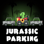 Jurassic Parking t-shirt TeeTurtle black t-shirt featuring a dinosaur in a car in the jungle parked between two cars