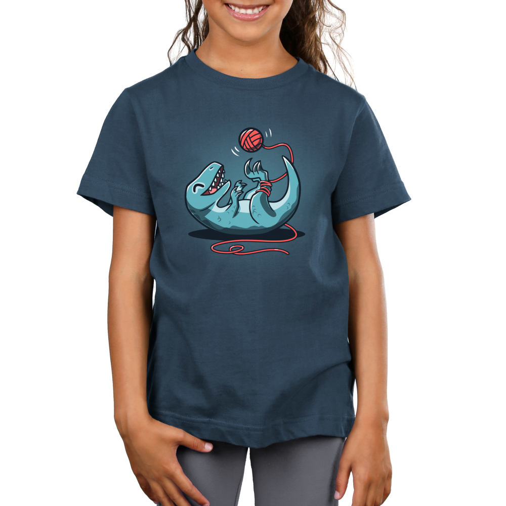 Velocikitty Kid's t-shirt model TeeTurtle indigo t-shirt featuring a dinosaur playing with a ball of yarn