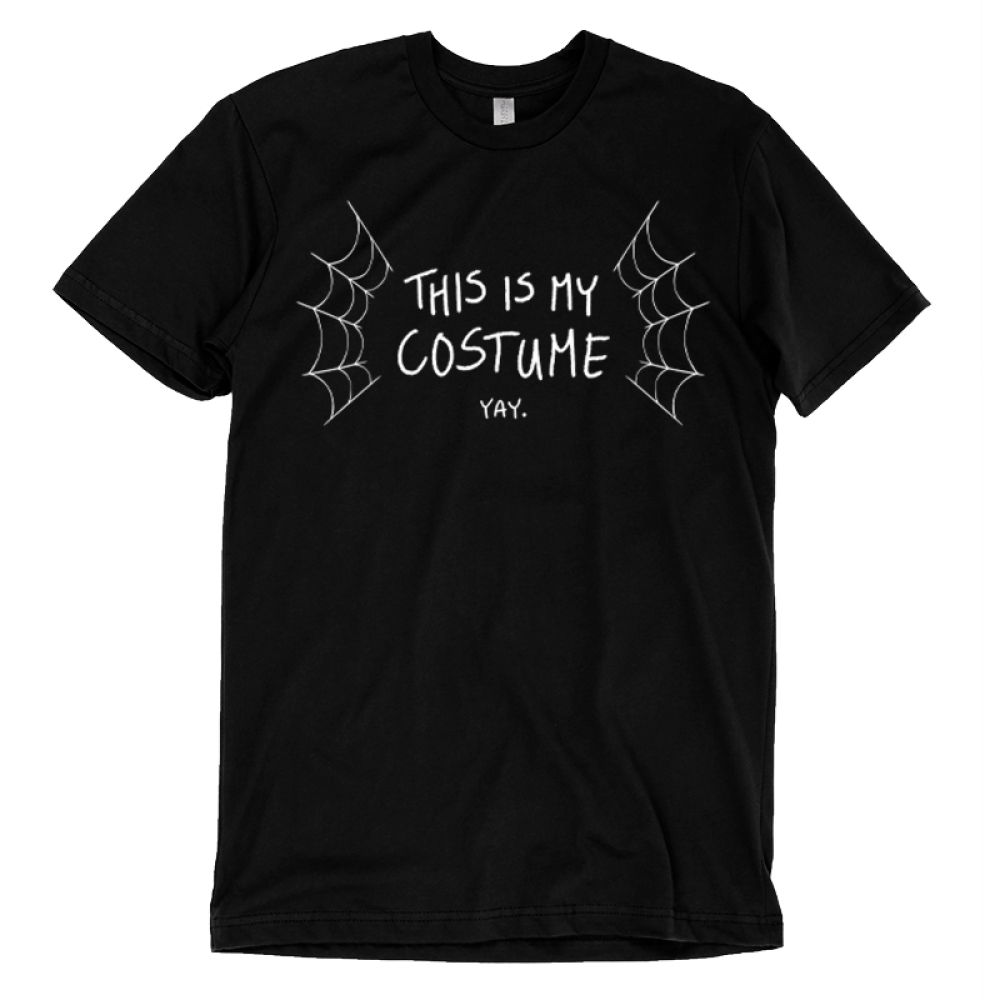 This is My Costume t-shirt TeeTurtle black t-shirt featuring spider webs surrounding the words