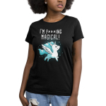 I'm F***ing Magical Women's t-shirt model TeeTurtle black t-shirt featuring a unicorn