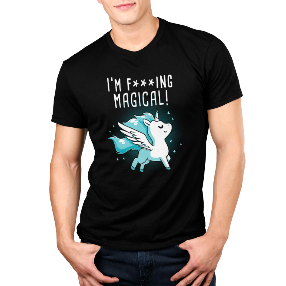 I'm F***ing Magical Men's t-shirt model TeeTurtle black t-shirt featuring a unicorn