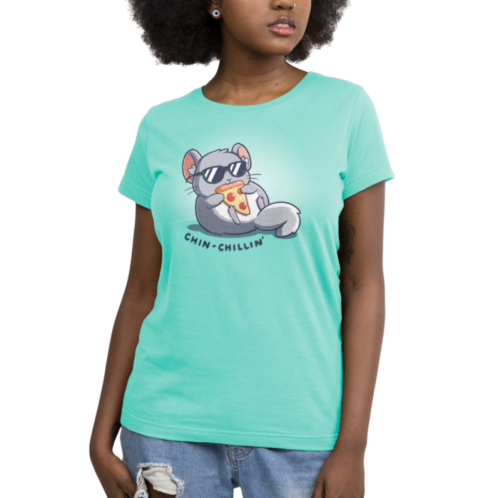 Chin Chillin Women's t-shirt model TeeTurtle light turquoise t-shirt featuring a chinchilla in a pair of sunglasses eating a slice of pizza