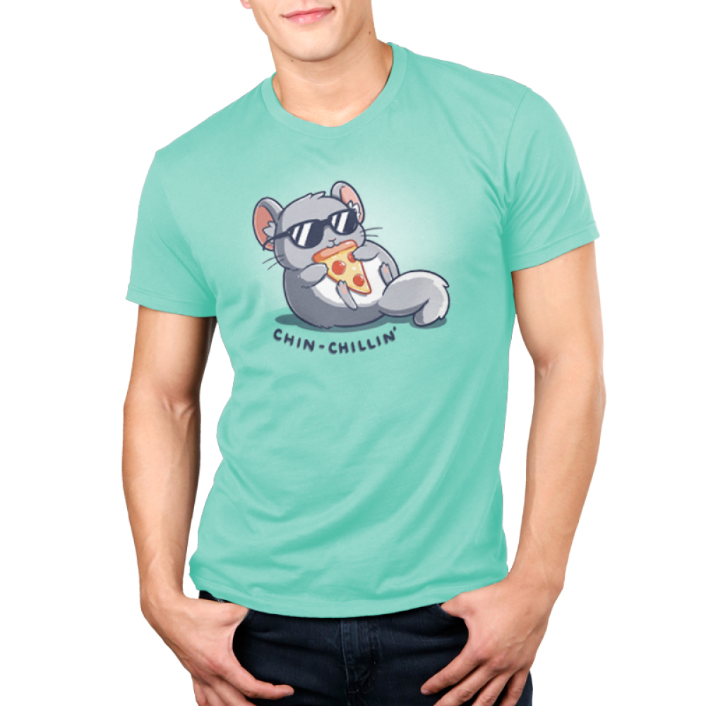 Chin Chillin Men's t-shirt model TeeTurtle light turquoise t-shirt featuring a chinchilla in a pair of sunglasses eating a slice of pizza