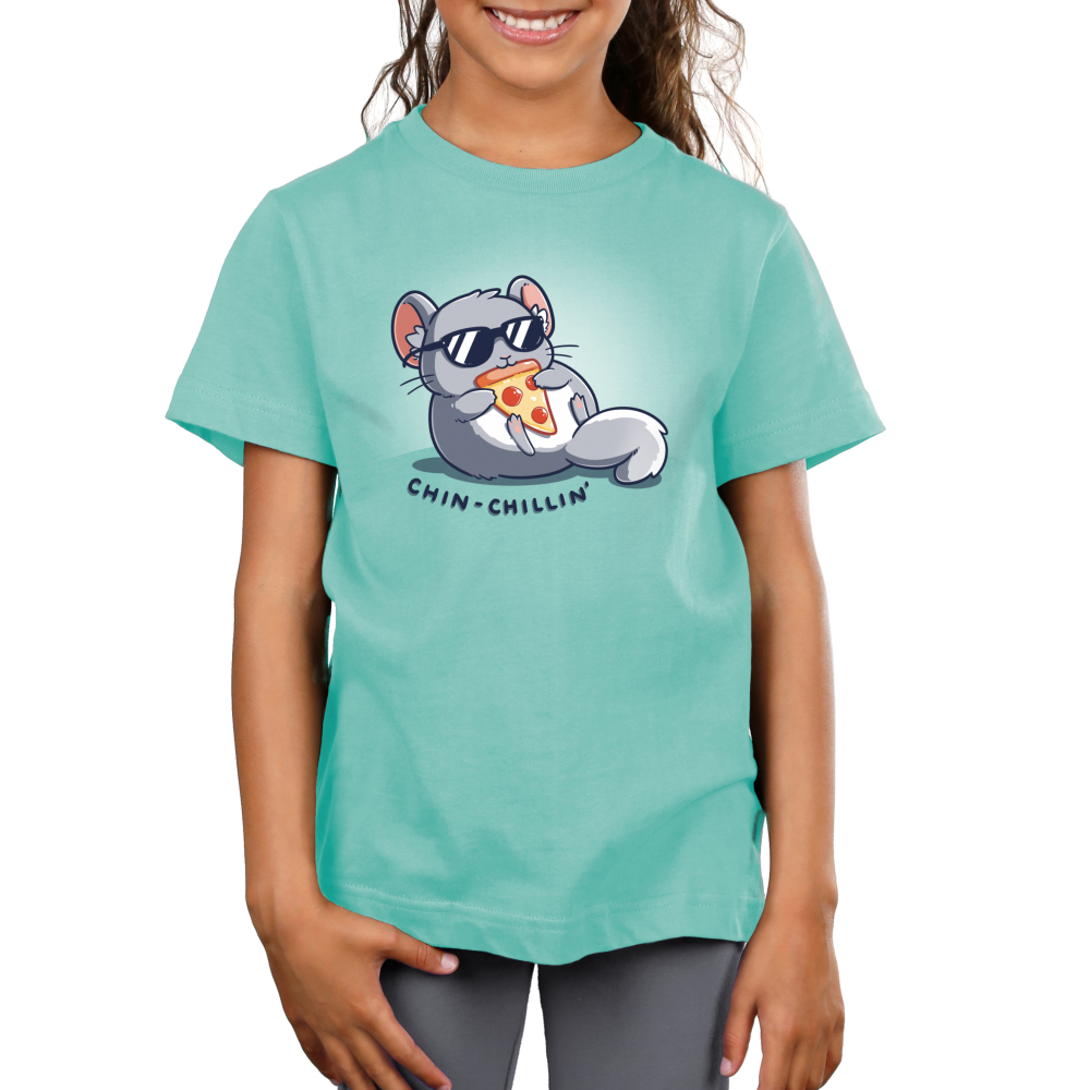 Chin Chillin Kids's t-shirt model TeeTurtle light turquoise t-shirt featuring a chinchilla in a pair of sunglasses eating a slice of pizza