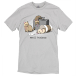 Small Business t-shirt TeeTurtle silver t-shirt featuring three ferrets dressed in ties - one slumped over a brief case, one in a coffee cup, and one with papers in front of him