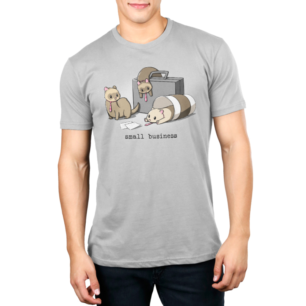 Small Business Men's t-shirt model TeeTurtle silver t-shirt featuring three ferrets dressed in ties - one slumped over a brief case, one in a coffee cup, and one with papers in front of him