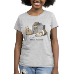Small Business Women's t-shirt model TeeTurtle silver t-shirt featuring three ferrets dressed in ties - one slumped over a brief case, one in a coffee cup, and one with papers in front of him