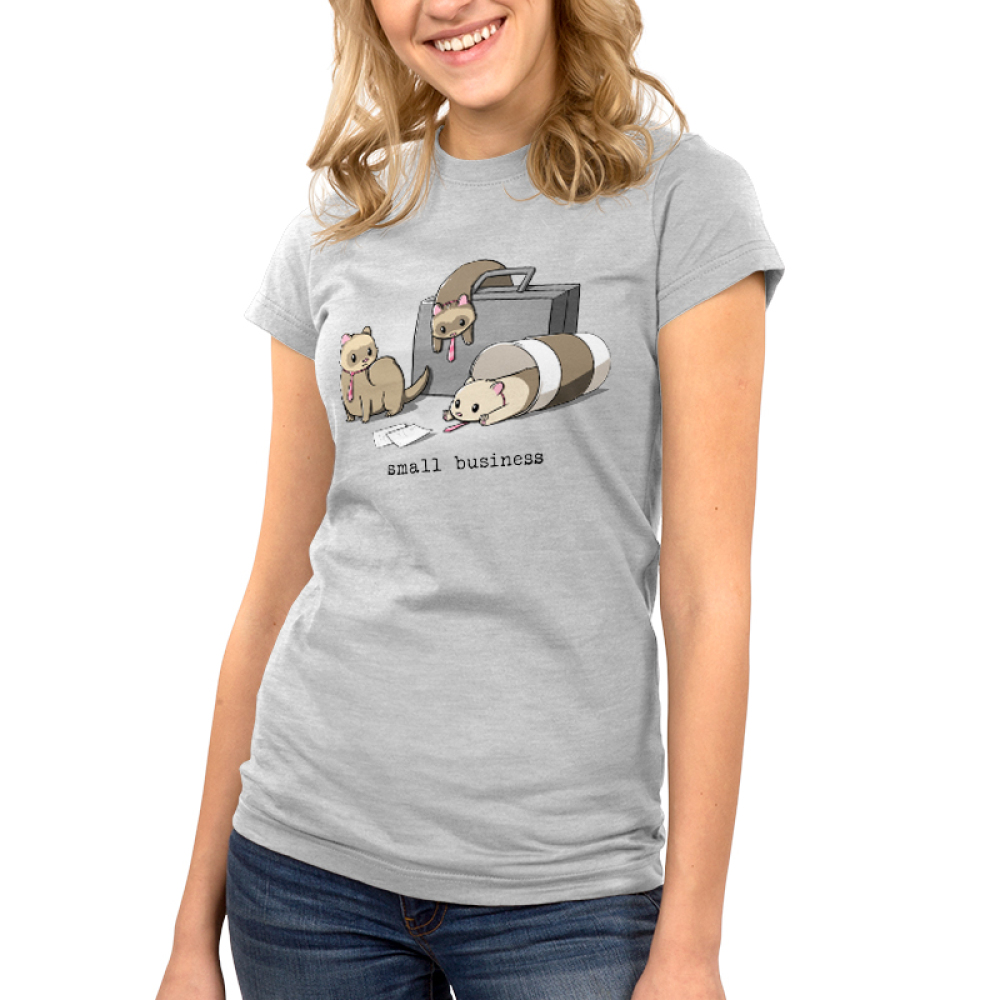 Small Business Junior's t-shirt model TeeTurtle silver t-shirt featuring three ferrets dressed in ties - one slumped over a brief case, one in a coffee cup, and one with papers in front of him