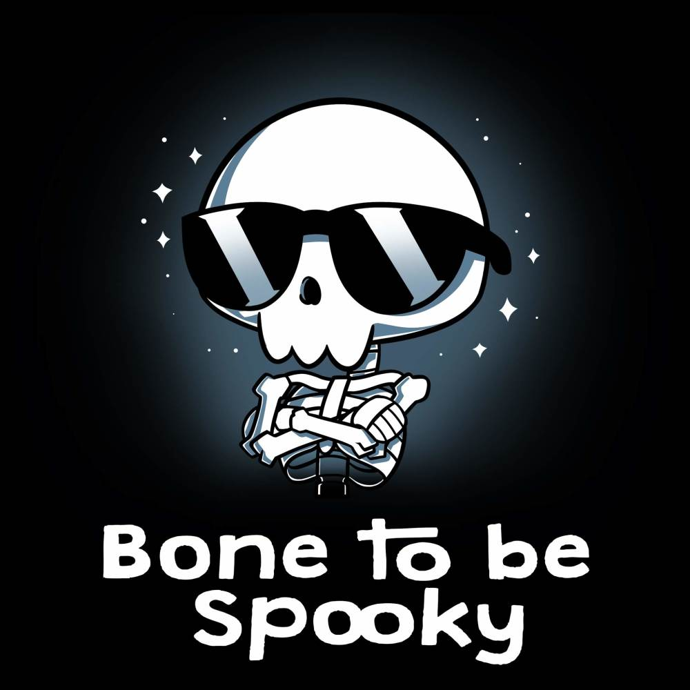 Bone to be Spooky t-shirt TeeTurtle black t-shirt featuring a skeleton in a pair of sunglasses