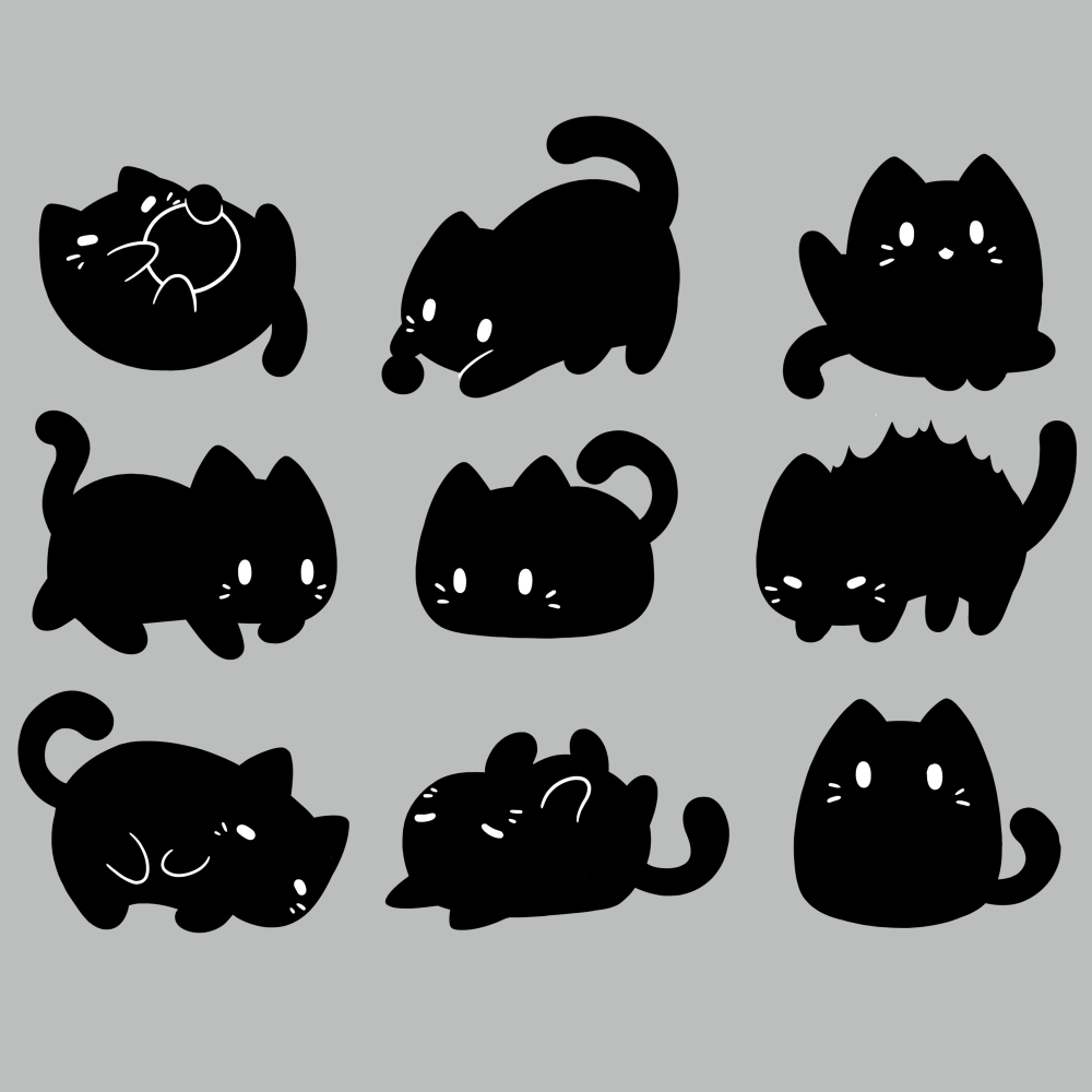 9 Spooky Kitties t-shirt TeeTurtle silver t-shirt featuring 9 black kitties in different positions
