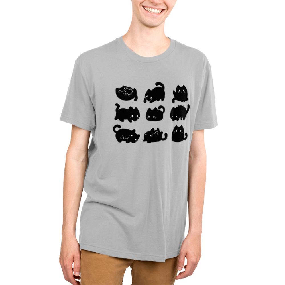 9 Spooky Kitties Men's t-shirt model TeeTurtle silver t-shirt featuring 9 black kitties in different positions