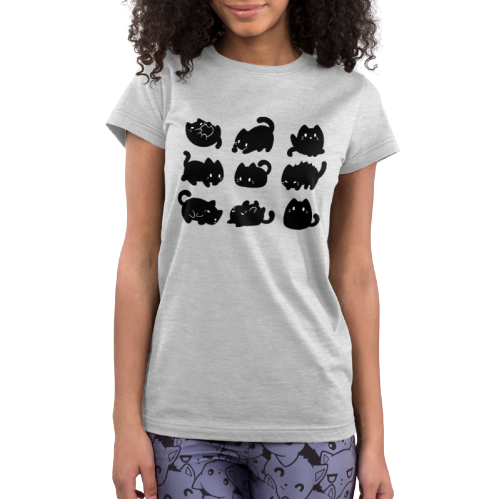 9 Spooky Kitties Junior's t-shirt model TeeTurtle silver t-shirt featuring 9 black kitties in different positions