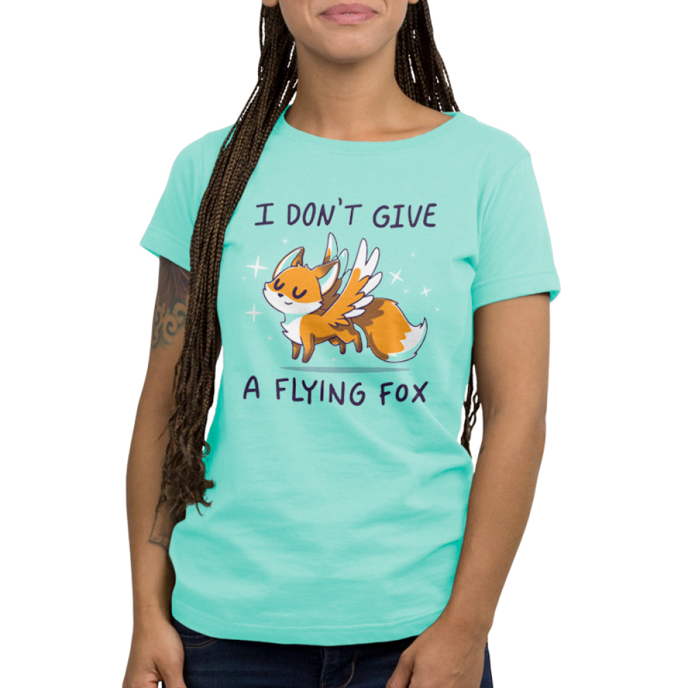 I Don't Give a Flying Fox Women's t-shirt model TeeTurtle light turquoise t-shirt featuring a fox with wings
