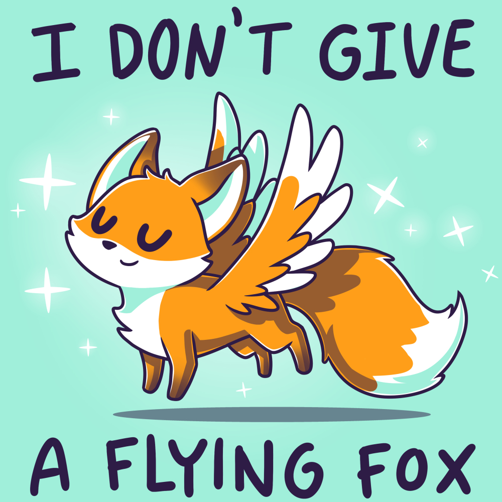 I Don't Give a Flying Fox t-shirt TeeTurtle light turquoise t-shirt featuring a fox with wings