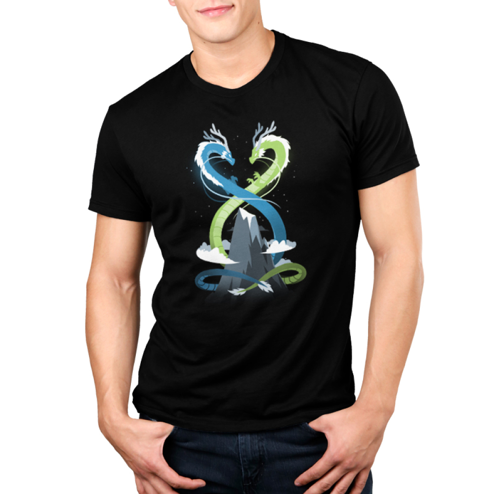 Double Dragons Men's t-shirt model TeeTurtle black t-shirt featuring a blue dragon and a green dragon twisted around a mountain